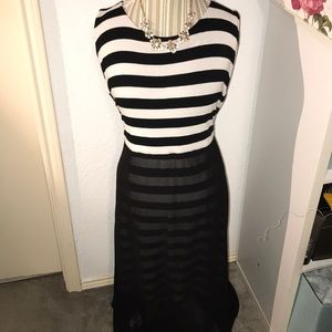 Vince Camuto jersey maxi dress with sheer bottom